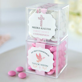 Personalized Girl First Communion JUST CANDY® favor cube with Just Candy Milk Chocolate Minis