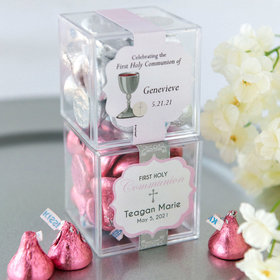 Personalized Girl First Communion JUST CANDY® favor cube with Hershey's Kisses