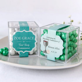 Personalized Girl First Communion JUST CANDY® favor cube with Sixlets Chocolate