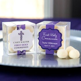Personalized Girl First Communion JUST CANDY® favor cube with Premium Sugar Cookie Bites