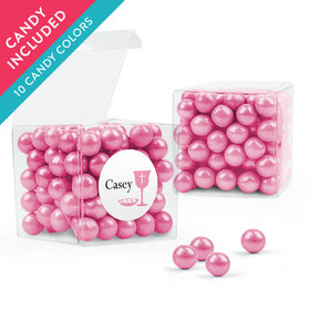 Personalized Girl First Communion Favor Assembled Clear Box with Sixlets