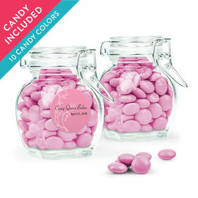 Personalized Girl First Communion Favor Assembled Swing Top Jar with Just Candy Milk Chocolate Minis