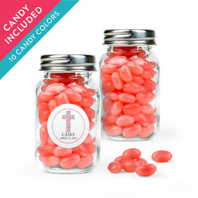 Personalized Girl First Communion Favor Assembled Mini Mason Jar with Just Candy Jelly Beans