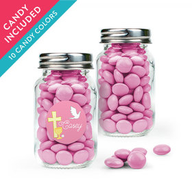 Personalized Girl First Communion Favor Assembled Mini Mason Jar with Just Candy Milk Chocolate Minis