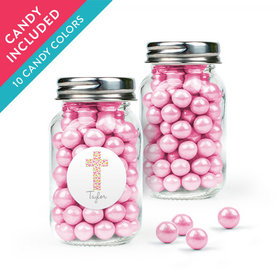 Personalized Girl First Communion Favor Assembled Mini Mason Jar with Sixlets