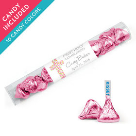 Personalized Girl First Communion Favor Assembled Clear Tube with Hershey's Kisses