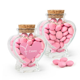 Personalized Girl First Communion Favor Assembled Heart Jar with Just Candy Milk Chocolate Minis