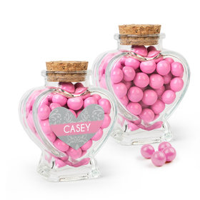 Personalized Girl First Communion Favor Assembled Heart Jar with Sixlets