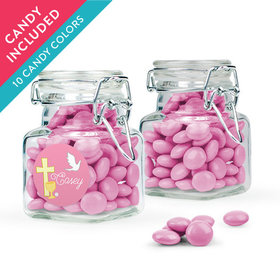 Personalized Girl First Communion Favor Assembled Swing Top Square Jar with Just Candy Milk Chocolate Minis