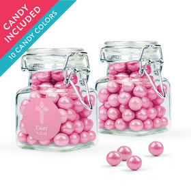 Personalized Girl First Communion Favor Assembled Swing Top Square Jar with Sixlets
