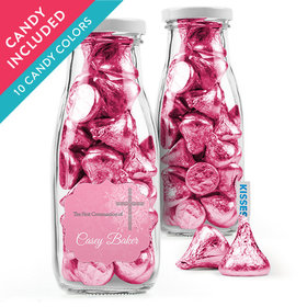 Personalized Girl First Communion Favor Assembled Milk Bottle Jar with Hershey's Kisses