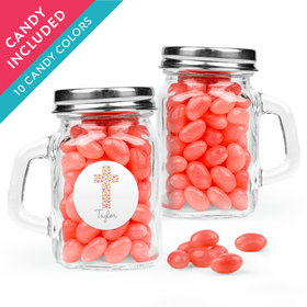 Personalized Girl First Communion Favor Assembled Mini Mason Mug with Just Candy Jelly Beans