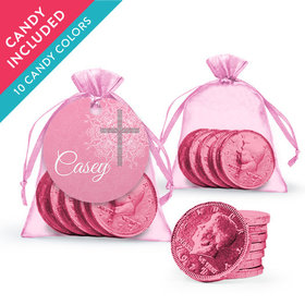 Personalized Girl First Communion Favor Assembled Organza Bag, Gift tag with Milk Chocolate Coins