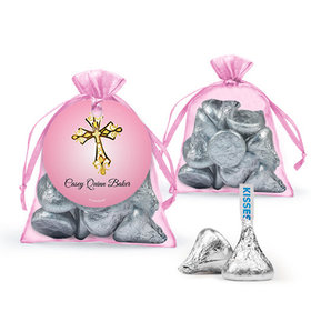 Personalized Girl First Communion Favor Assembled Organza Bag with Hershey's Kisses