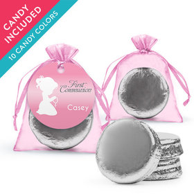 Personalized Girl First Communion Favor Assembled Organza Bag Hang tag with Chocolate Covered Oreo Cookie