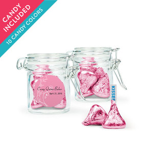 Personalized Girl First Communion Favor Assembled Swing Top Round Jar with Hershey's Kisses