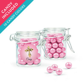 Personalized Girl First Communion Favor Assembled Swing Top Round Jar with Sixlets
