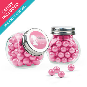 Personalized Girl First Communion Favor Assembled Mini Side Jar with Sixlets
