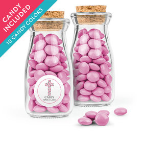 Personalized Girl First Communion Favor Assembled Glass Bottle with Cork Top with Just Candy Milk Chocolate Minis