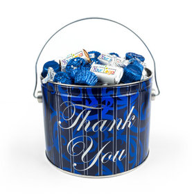 Personalized Add Your Logo True Blue Thank You Gift Tin 3.5 lb Hershey's Mix Tin