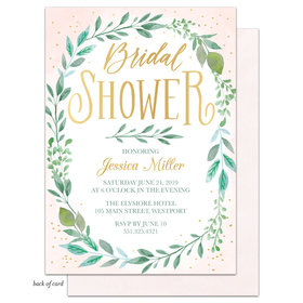 Bonnie Marcus Collection Personalized Bridal Shower Green Foliage Wreath Invitation