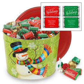 Personalized Scarf Snowman 14 lb Happy Holidays Hershey's Mix Tin