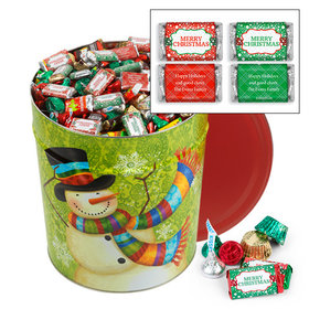 Personalized Scarf Snowman 20 lb Merry Christmas Hershey's Mix Tin