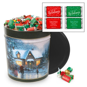 Personalized Skater's Pond 20 lb Happy Holidays Hershey's Mix Tin