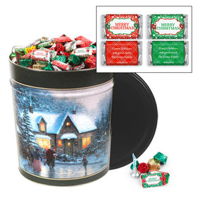 Personalized Skater's Pond 20 lb Merry Christmas Hershey's Mix Tin