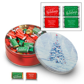 Personalized Blanket of White 2 lb Happy Holidays Hershey's Mix Tin