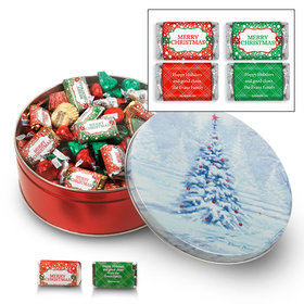 Personalized Blanket of White 2 lb Merry Christmas Hershey's Mix Tin