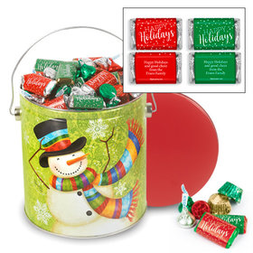 Personalized Scarf Snowman 5 lb Happy Holidays Hershey's Mix Tin