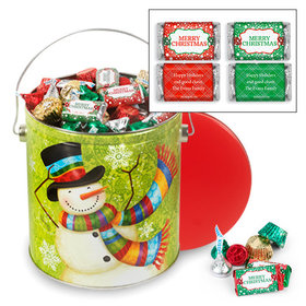 Personalized Scarf Snowman 5 lb Merry Christmas Hershey's Mix Tin