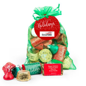 Personalized Emerald Green Medium Organza Bag Happy Holidays Hershey's Mix