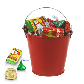 Red Christmas Pail 1/4lb Hershey's Holiday Mix