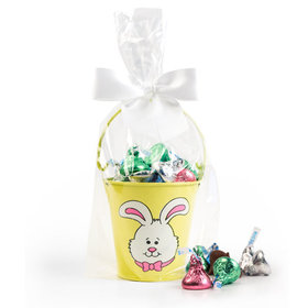 Yellow Easter Bunny Pail with Spring Mix Hershey's Kisses