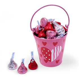 Pink Heart Pail Hershey's Kisses Love Mix