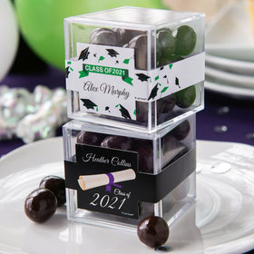 Personalized Graduation JUST CANDY® favor cube with Premium Barrel Aged Bourbon Cordials - Dark Chocolate