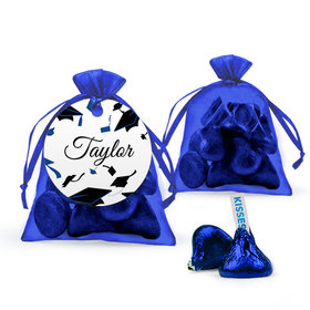 Personalized Blue Graduation Favor Assembled Organza Bag with Hershey's Kisses