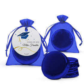 Personalized Blue Graduation Favor Assembled Organza Bag Hang tag with Chocolate Covered Oreo Cookie