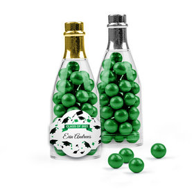 Personalized Green Graduation Favor Assembled Champagne Bottle with Sixlets