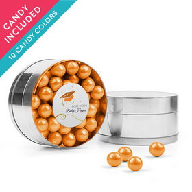 Personalized Orange Graduation Favor Assembled Small Round Plastic Tin with Sixlets