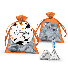 Personalized Orange Graduation Favor Assembled Organza Bag with Hershey's Kisses