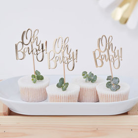 Gold Oh Baby! Cupcake Topper
