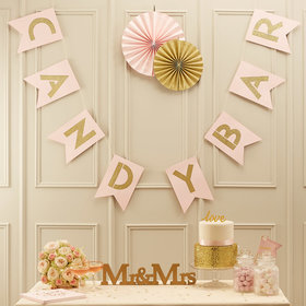 Pink & Gold Candy Bar Bunting Banner