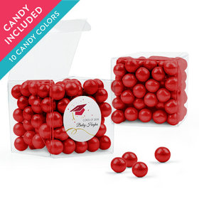 Personalized Red Graduation Favor Assembled Clear Box with Sixlets