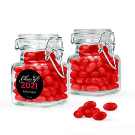 Personalized Red Graduation Favor Assembled Swing Top Square Jar with Just Candy Jelly Beans