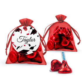 Personalized Red Graduation Favor Assembled Organza Bag with Hershey's Kisses