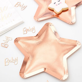 Rose Gold Star Paper Plates - Twinkle Twinkle