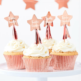 Rose Gold Twinkle Twinkle Cupcake Topper